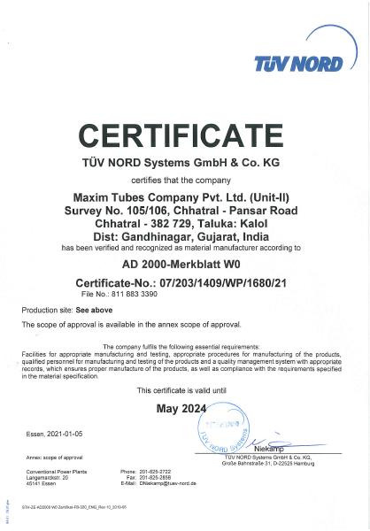 TUV NORD – AD 2000 – Merkblatt W0