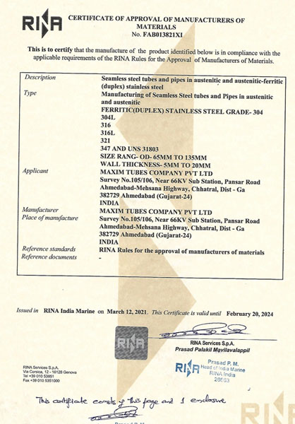 Approval of Manufacturer – RINA