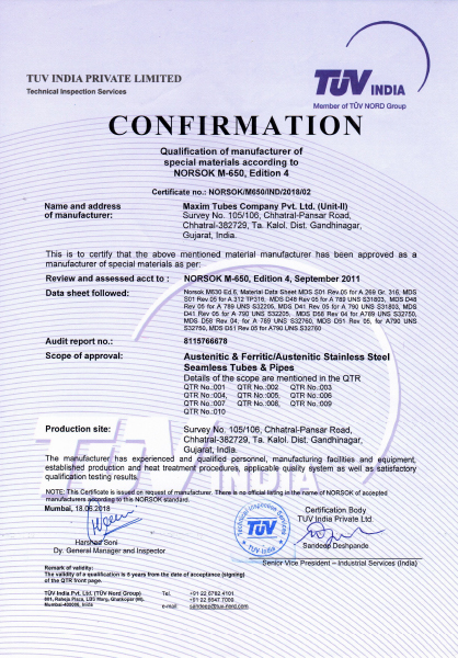Approval of Manufacturer – Norsok