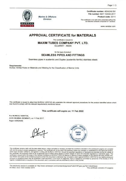 Approval of Manufacturer – Bureau Veritas
